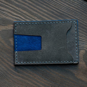 grey blue card wallet