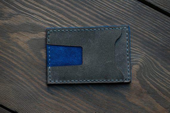 grey blue card wallet