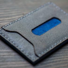 blue suede wallet
