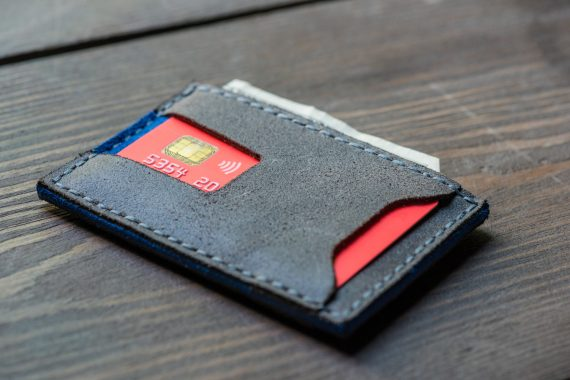 grey leather card wallet