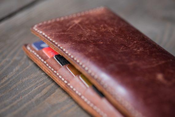 cognac leather long wallet