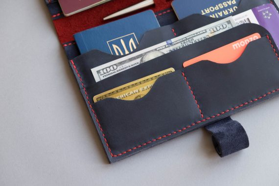 blue leather travel wallet