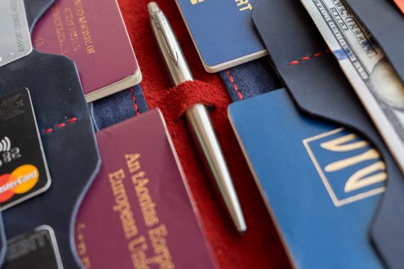 red leather passport cover