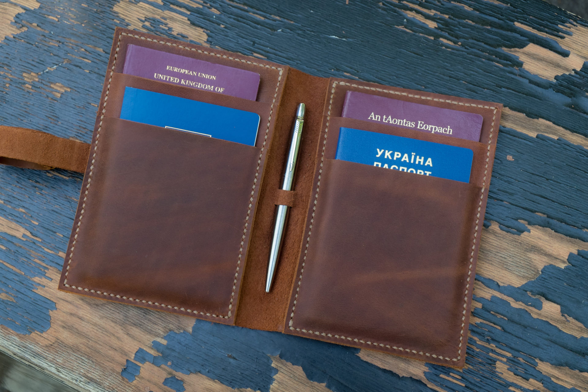 Leather Compact Travel Document Holder No Brand