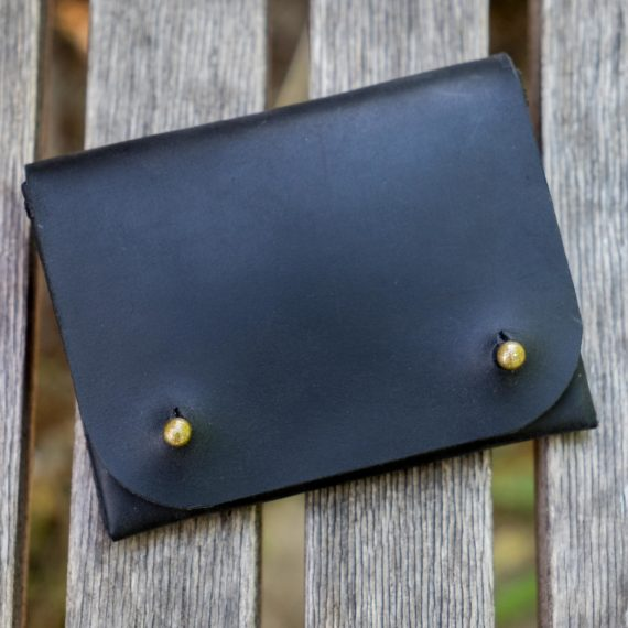 woman's black leather wallet