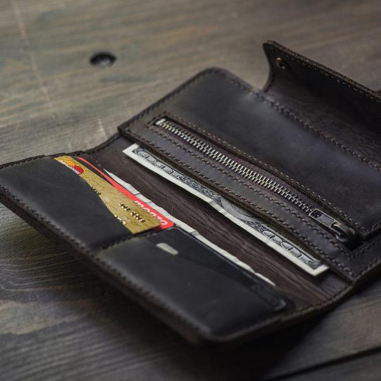 brown leather pocketbook