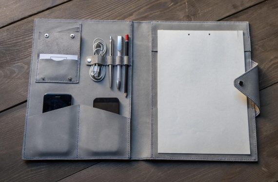 grey leather folio