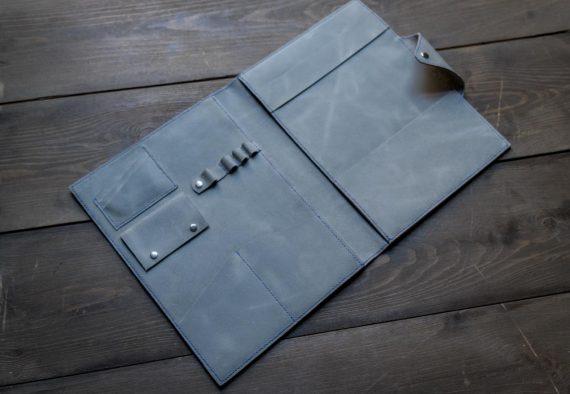 grey leather padfolio