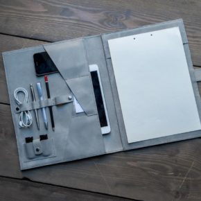 grey leather folder