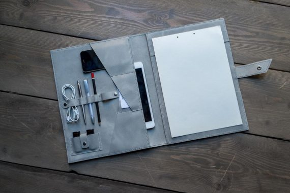 grey leather folder
