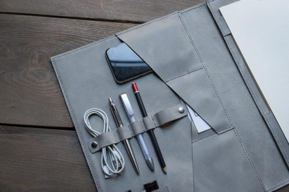 gray leather folder