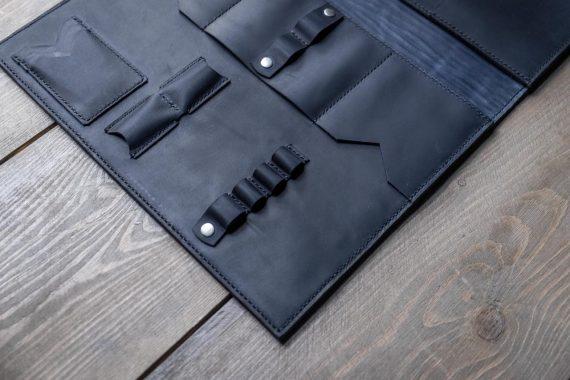 blue leather folder