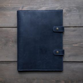 blue leather business folder