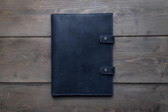 blue leather business folder