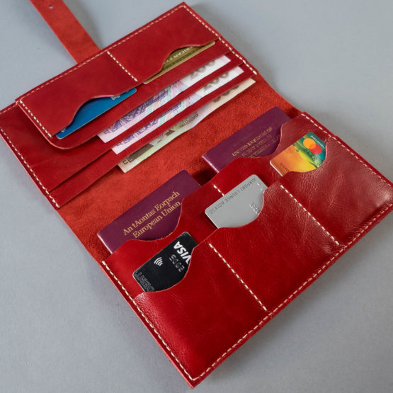 red leather passport wallet