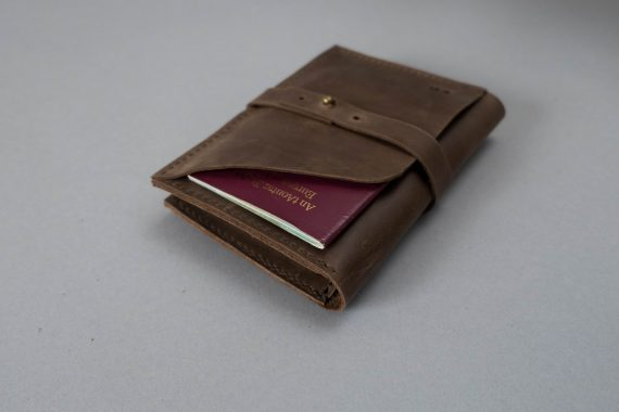 brown leather travel wallet