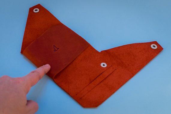 red slim wallet