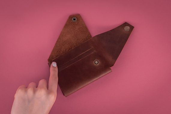 origami leather wallet