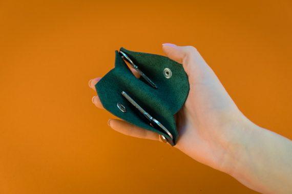 Italian green leather keychain