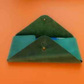 green leather pencil case