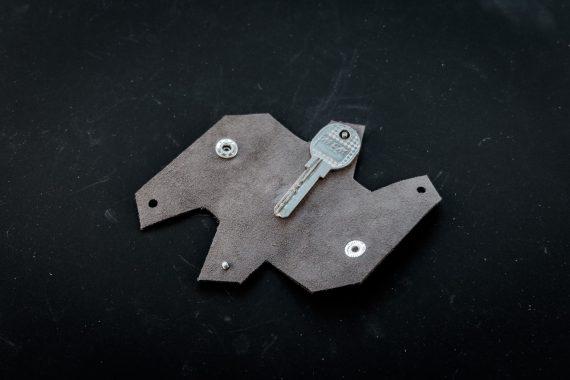 grey leather keychain