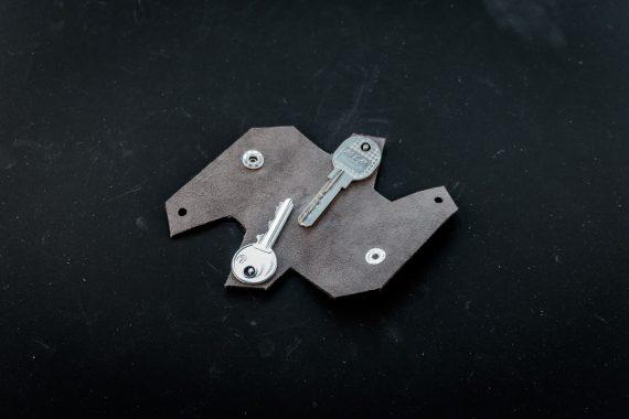 Folding leather keychain