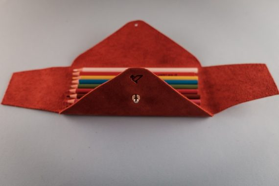 red leather pencil case