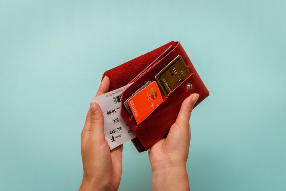 red leather travel wallet