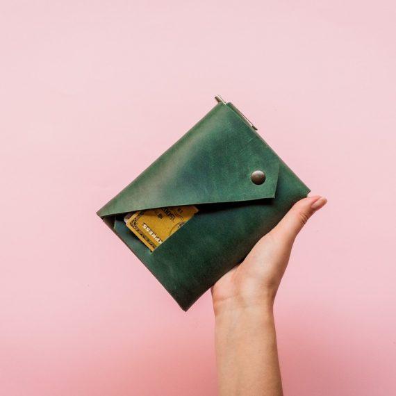 green travel wallet