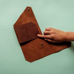 origami leather passport holder