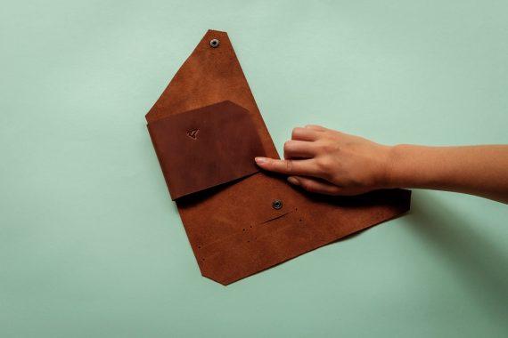 origami leather passport holder