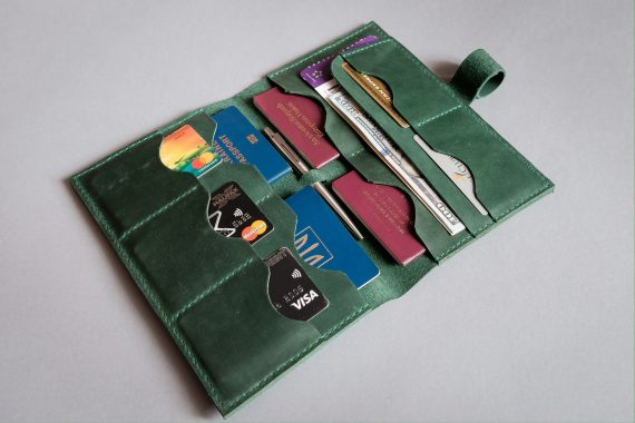 green leather travel wallet