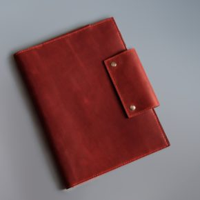 red leather folio