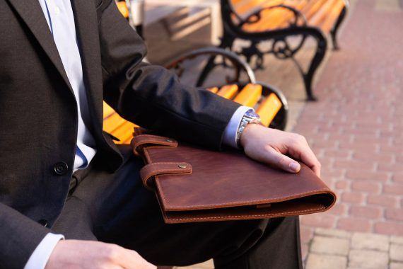 business man with padfolio