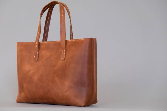 Cognac leather tote bag