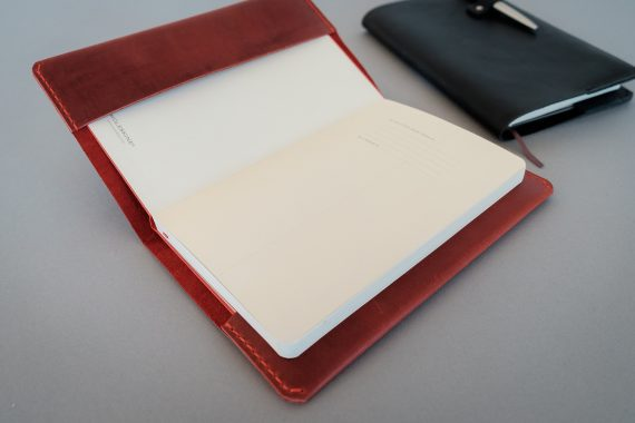 red leather cover