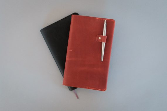 red notebook cover