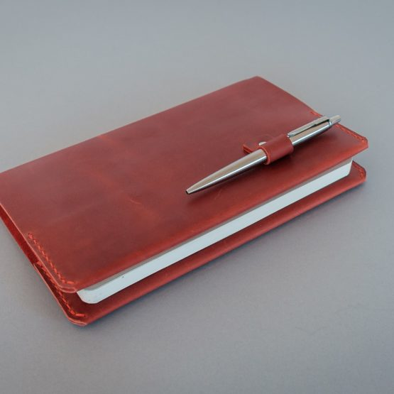 red leather moleskine cover