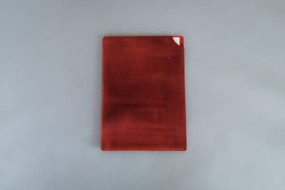 red leather folder