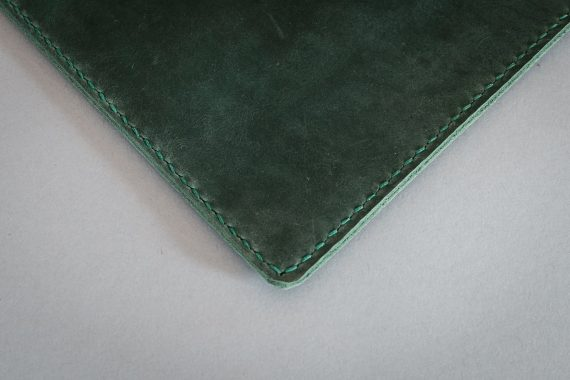 green leather folder