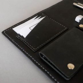 black leather folio