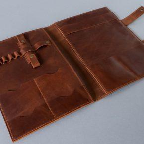 cognac leather padfolio