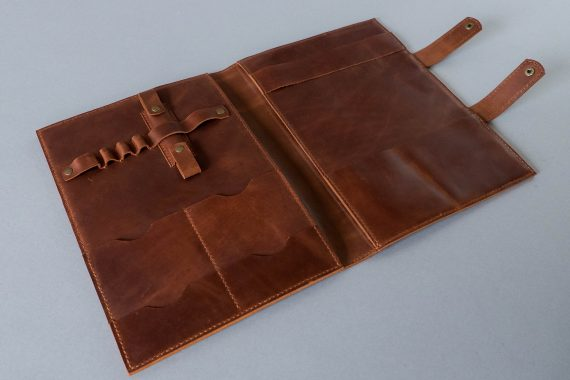 cognac leather padfolio