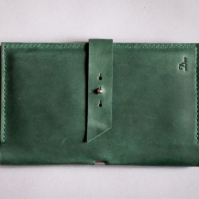 leather passport holder green